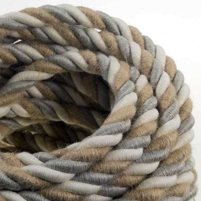 2XL električna vrv, električen kabel 3x0,75, prekrit z naravnim lanom, bombažem in juto, Country. Premer 24mm.