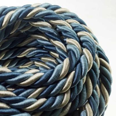 2XL električna vrv, električen kabel 3x0,75, prekrit s svetlo tkanino, Bernadotte. Premer 24mm.