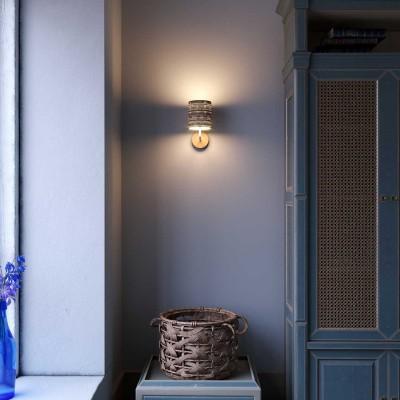 Fermaluce Maritime, stensko svetilo z leseno rozeto in senčilom iz rafije
