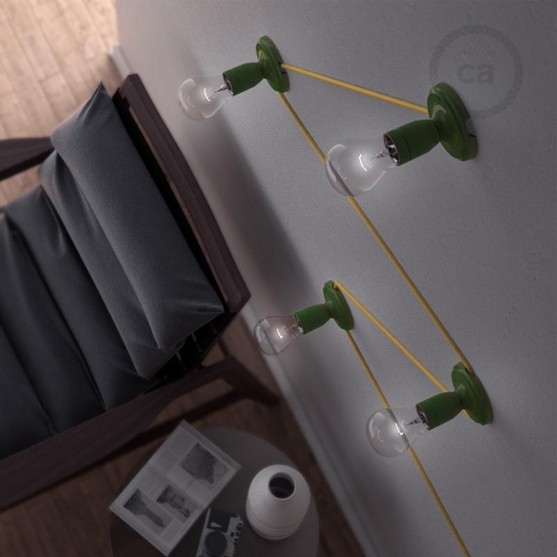 Fermaluce Color Block, svetilo za stropno ali stensko montažo s porcelanskim grlom v različnih barvnih kombinacijah