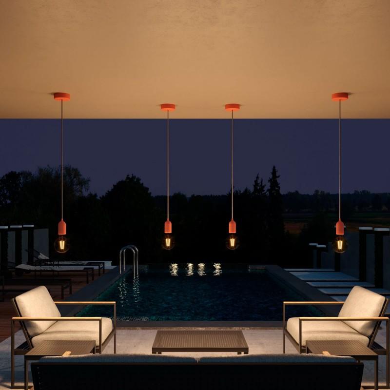 Zunanje svetilo s tekstilnim kablom, barvito silikonsko rozeto in grlom IP65, EIVA PASTEL