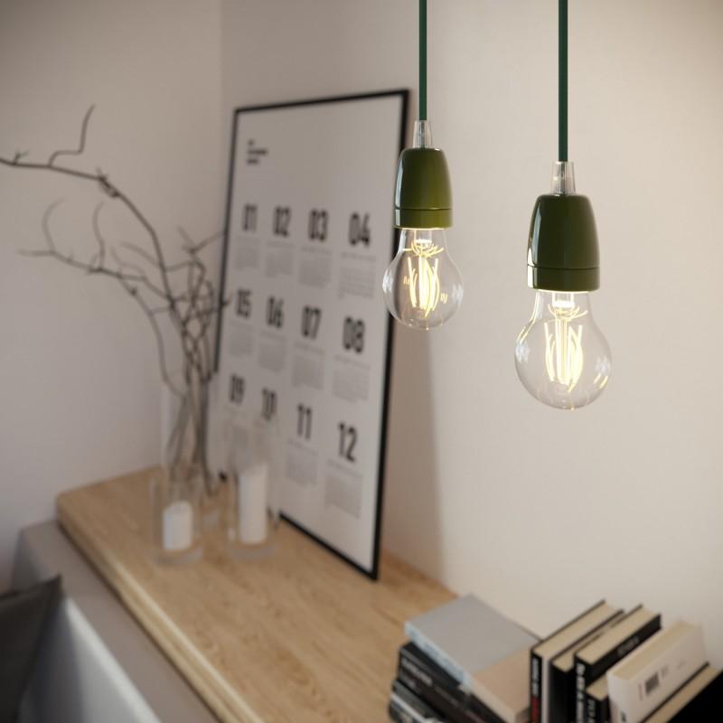 Viseče svetilo s tekstilnim kablom in barvanimi elementi iz porcelana - Izdelano v Italiji