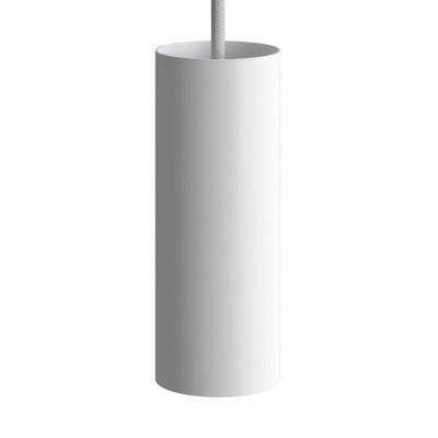Viseče svetilo s tekstilnim kablom, Tub-E14 senčilom in kovinskimi detajli- Izdelano v Italiji