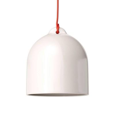 Viseče svetilo s tekstilnim kablom in keramičnim senčilom Zvonec M - Izdelano v Italiji
