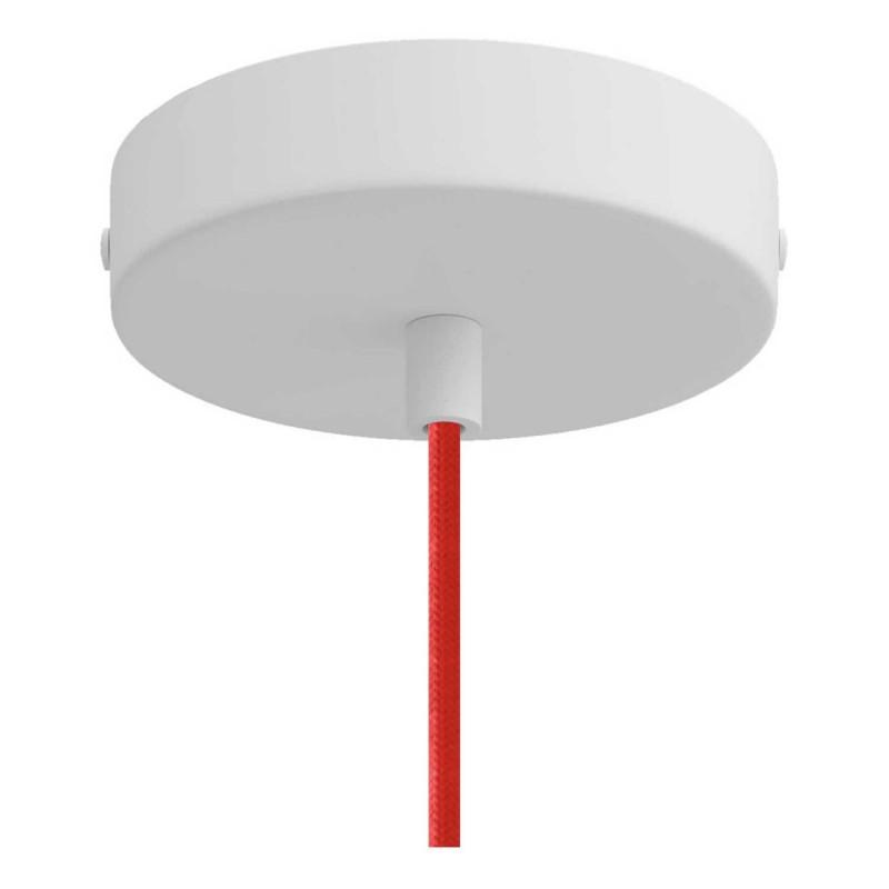 Viseče svetilo s tekstilnim kablom in keramičnim senčilom Zvonec XL- Izdelano v Italiji