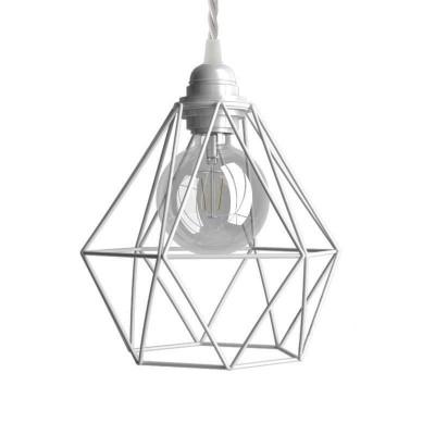 Viseče svetilo s tekstilnim kablom in kletko Diamant - Izdelano v Italiji