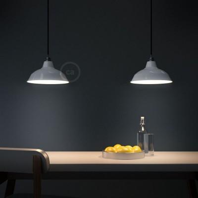 Viseče svetilo s tekstilnim kablom in Bistrot senčilom - Izdelano v Italiji