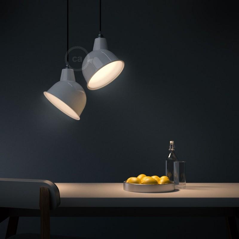 Viseče svetilo s tekstilnim kablom in Broadway senčilom - Izdelano v Italiji