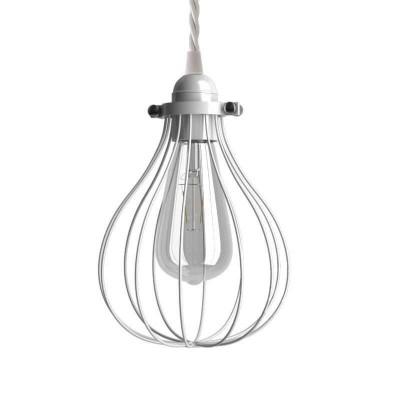 Viseče svetilo s tekstilnim kablom in Drop kletko - Izdelano v Italiji