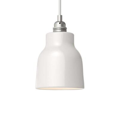 Viseče svetilo s tekstilnim kablom in keramičnim senčilom v obliki vaze - Izdelano v Italiji