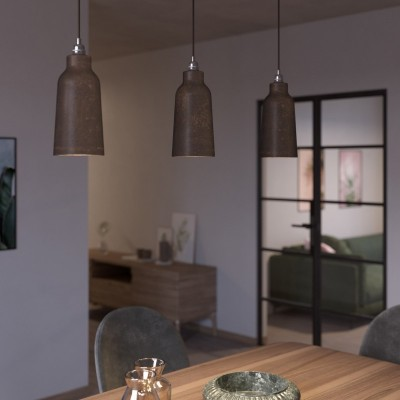 Viseče svetilo s tekstilnim kablom in keramičnim senčilom v obliki stekelnice - Izdelano v Italiji
