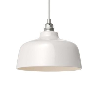 Viseče svetilo s tekstilnim kablom in keramičnim senčilom v obliki skodelice - Izdelano v Italiji