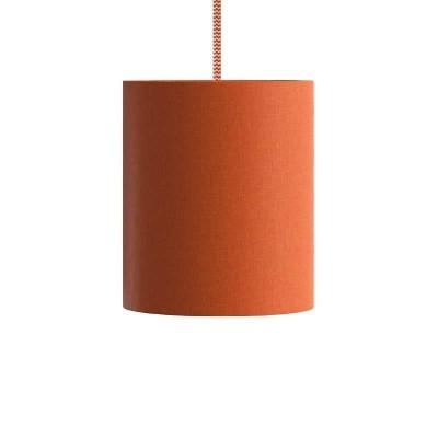 Viseče svetilo s tekstilnim kablom in cilindričnim senčilom - Izdelano v Italiji