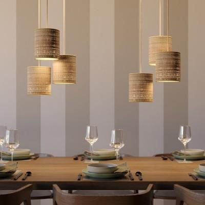 Viseče svetilo s tekstilnim kablom in cilindričnim senčilom iz rafije - Izdelano v Italiji