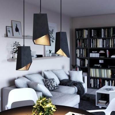 Viseče svetilo s tekstilnim kablom in cementnim senčilom Prisma - Izdelano v Italiji