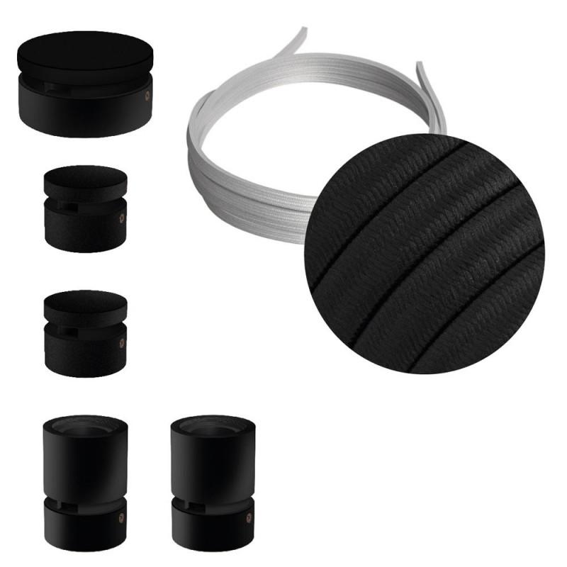 Filé System komplet Wiggle - s 3M kabla in 5. lesenimi notranjimi komponentami, črno lakiranimi