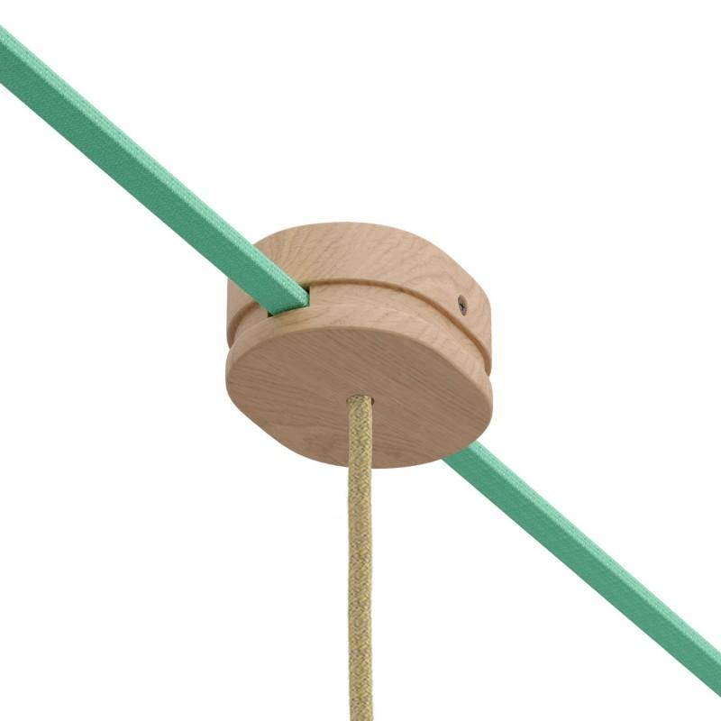 Lesena ovalna rozeta za Filé system z enim sredinskim izpustom in dvema stranskima odprtinama za kabel. Proizvedeno v Italiji