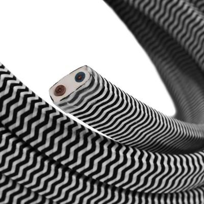 Električni kabel za verigo luči v ZigZag črno beli barvi CZ04