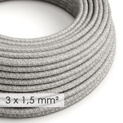 Okrogel kabel večjega preseka (3x1,50) - siv naravni lan RN02