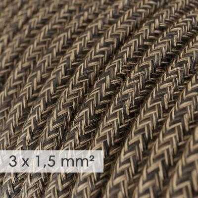 Okrogel kabel večjega preseka (3x1,50) - naravni rjavi lan RN04