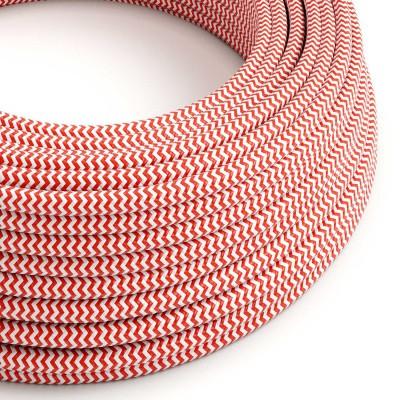 Okrogel tekstilen električen kabel RZ09 - rdeč