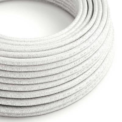 Okrogel lesketajoč tekstilen električen kabel RL01 - bel