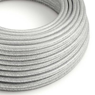 Okrogel lesketajoč tekstilen električen kabel RL02 - srebrn