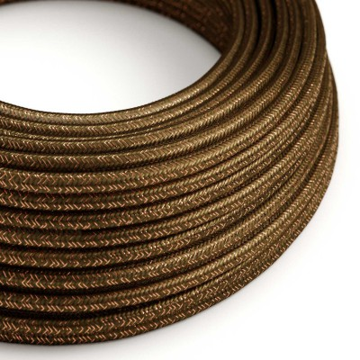 Okrogel lesketajoč tekstilen električen kabel RL13 - rjav