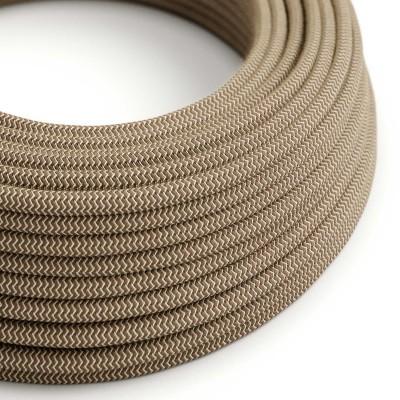 """Okrogel električen kabel Zig Zag RD73 """"lubje"""", naravni lan in rjav bombaž."""