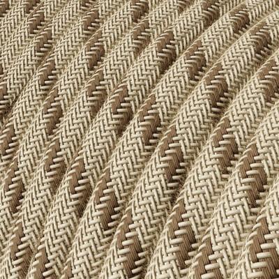 """Okrogel tekstilen kabel RD53 val """"lubje"""", naravni lan in rjav bombaž"""