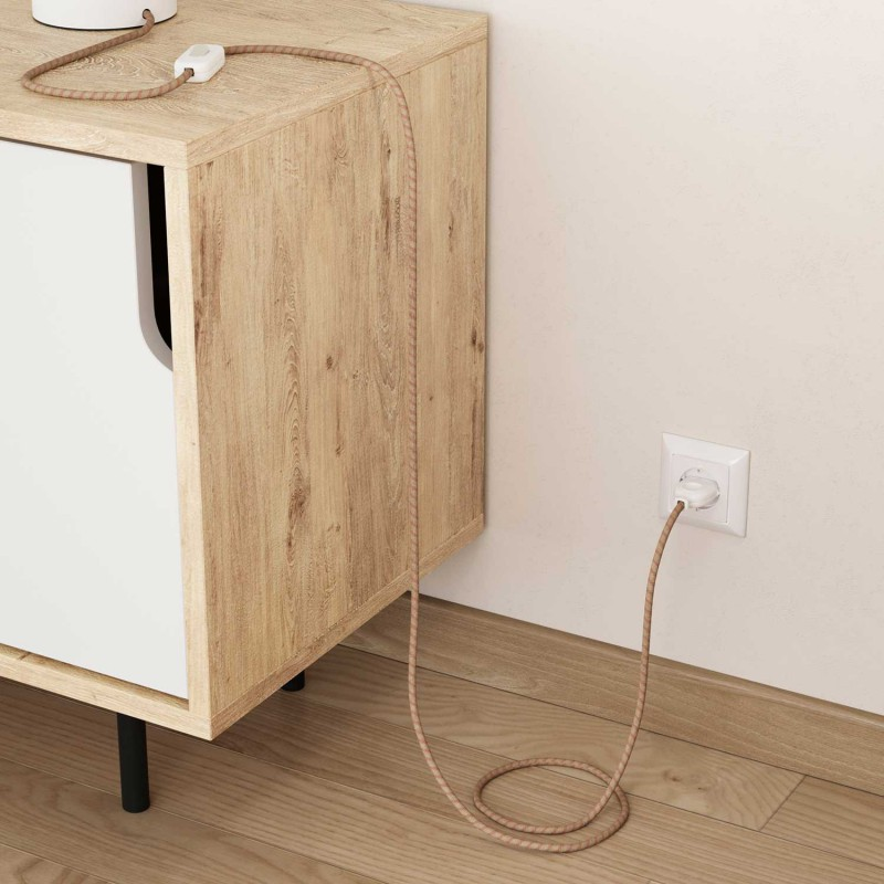 """Okrogel električen kabel, vzorec """"Črte"""" RD51, naraven lan in rožnati bombaž"""