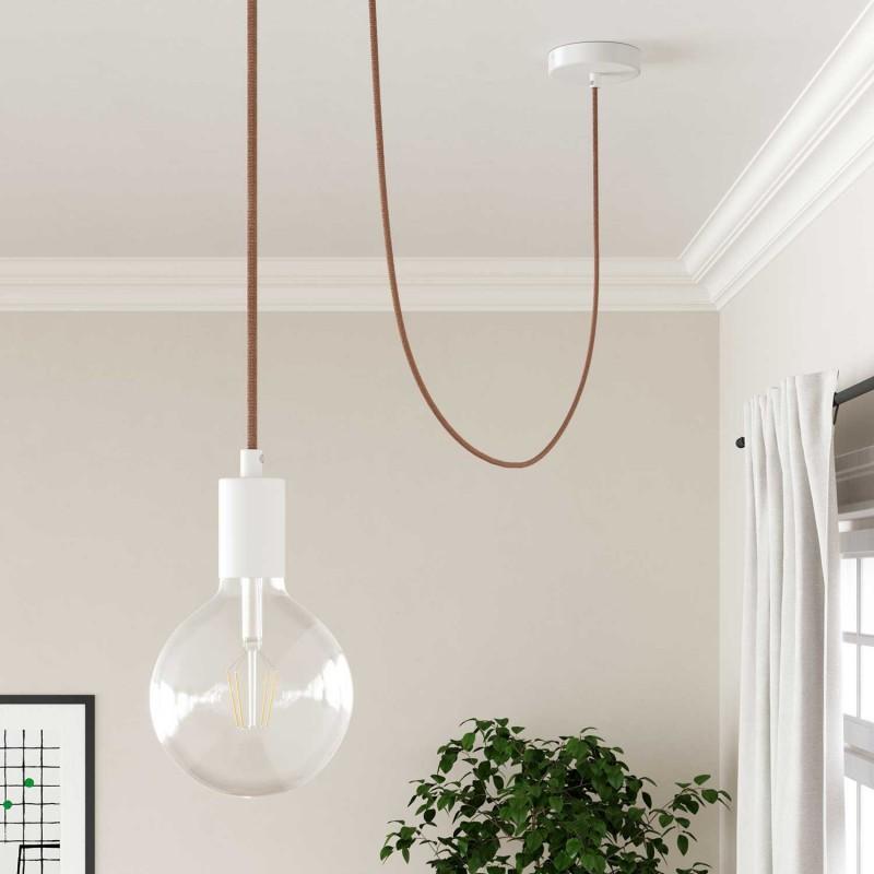 """Okrogel električen kabel, vzorec """"ZigZag"""" RD71, naravni lan in rožnati bombaž."""