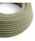 """Okrogel električen kabel, vzorec """"ZigZag"""" RD72, naravni lan in timijan zeleni bombaž."""