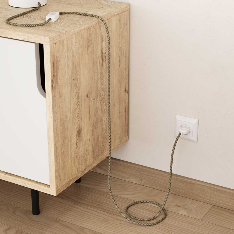 """Okrogel električen tekstilen kabel """"Romb"""" RD64 naraven lan in antracit bombaž."""