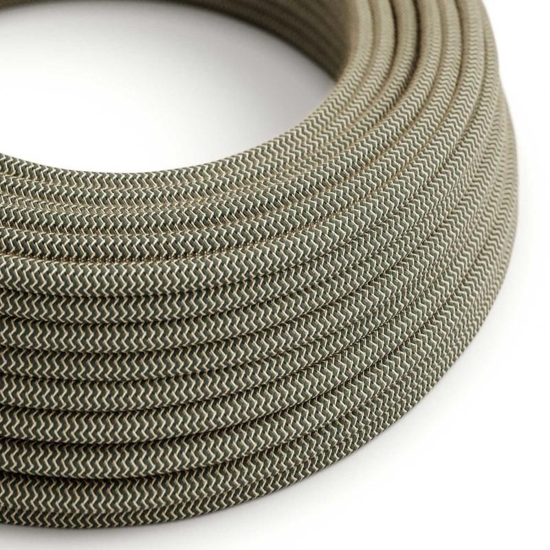 """Okrogel električen tekstilen kabel """"ZigZag"""" RD74 naravni lan in antracit bombaž"""