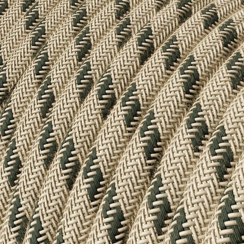 "Okrogel električen tekstilen kabel ""Črte"" RD54 naravni lan in antracit bombaž"