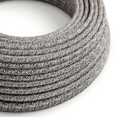 Okrogel električen tekstilen kabel RS8 Onyx tvid, naraven lan, gliter in črn bombaž