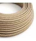 Okrogel električen tekstilen kabel RS82 rusast naravni lan, gliter in rjav bombaž
