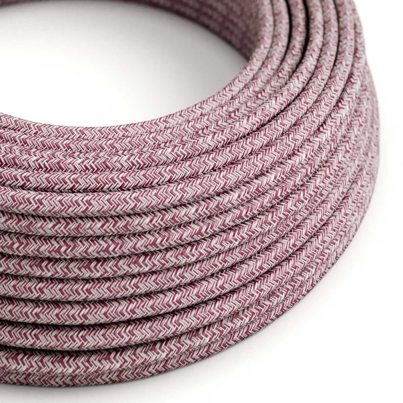 "Okrogel tekstilen električen kabel RS83 ""tvid"" bordo lan , gliter in rdeč bombaž"