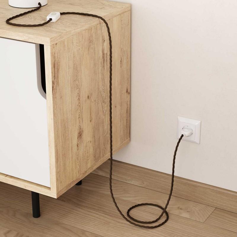 Zavit električen tekstilen kabel TC13 rjav bombaž
