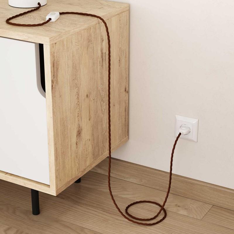 Zavit električen tekstilen kabel TC23 jelenje rjav bombaž