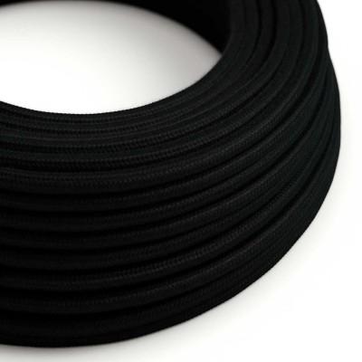 Okrogel električen kabel, črn bombaž, RC04