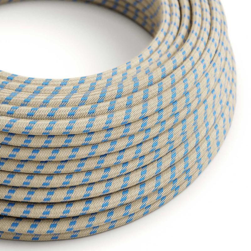 "Okrogel električen kabel, ""Črte"" RD55, naravni lan in nebesno moder bombaž"