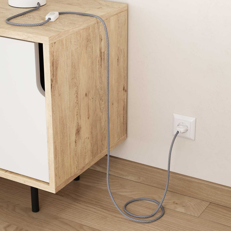"Okrogel električen kabel, ""Romb"" RD65, naravni lan in nebesno moder bombaž"