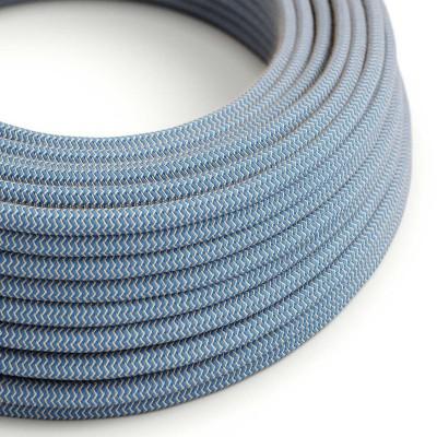 """Okrogel električen kabel, """"Zigzag"""" RD75, naravni lan in nebesno moder bombaž"""