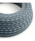 Okrogel tekstilen električen kabel, bombaž, kamnito-siv in Ocean RP25