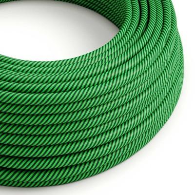 Okrogel električen kabel Vertigo HD prekrit s tekstilom svetlo in temno zelene barve ERM48