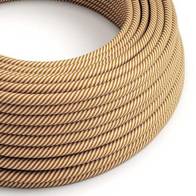 Okrogel električen kabel Vertigo HD prekrit s tekstilom bele in rjave barve ERM49