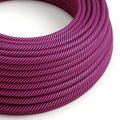 Okrogel električen kabel Vertigo HD prekrit s tekstilom temno vijolične barve in fuksije ERM50