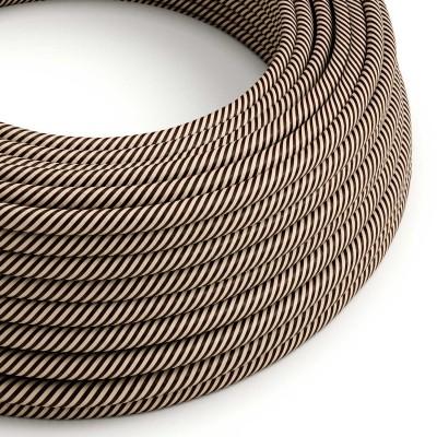 Okrogel električen kabel Vertigo HD prekrit s tekstilom svetlo in temno rjave barve ERM51